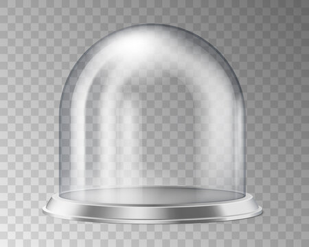 Glass cake stand with transparent dome cover. Realistic glassware for dessert and dishes serving
