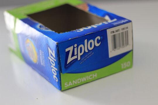 Ziploc bags in a box, editorial