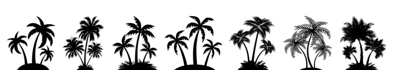 Set palm tree silhouettes sign, palm collection – vector Wall mural