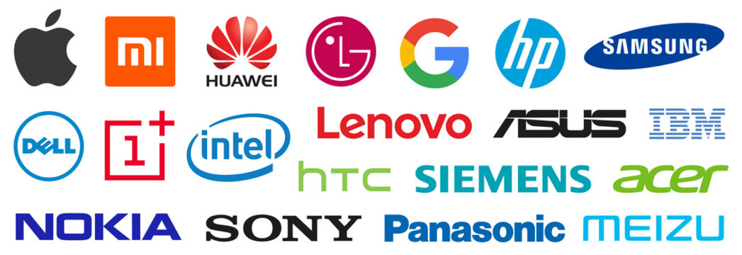 Top electronic companies logo. World's leading computer brands. Apple, Xiaomi, Samsung, Huawei, HP, LG, Sony, Lenovo, Google, HTC, Dell, Oneplus, Vivo, Nokia, Asus, Honor, IBM, Acer, Intel icon.
