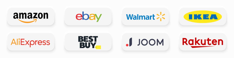 Kiev, Ukraine - February 21, 2021: Top online trading platforms companies logo. Popular world's leading shop brands. Amazon, Ebay, Walmart, Ikea, Aliexpress, BestBuy, Joom, Rakuten. Editorial vector