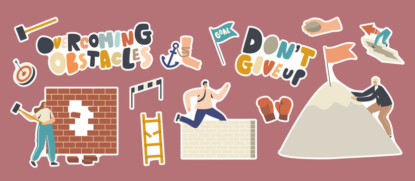 Set of Stickers Overcoming Obstacles Theme. Characters Seeking Success, Climbing on Rock Peak, Jump Over Barriers
