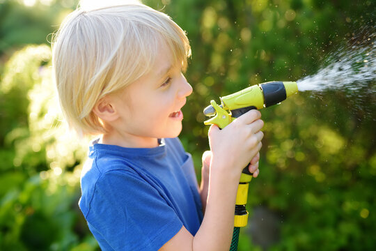 Funny little boy watering plants and playing with garden hose with sprinkler in sunny backyard. Preschooler child having fun with spray of water.