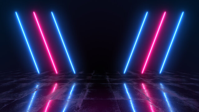 Abstract neon background with colorful beams of lights illustration. Futuristic studio concept with bright laser and reflective floor.