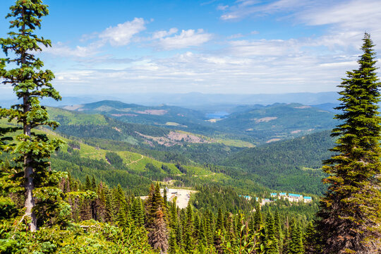 View of the Spokane Valley and Newman Lake area from the summit of Mount Spokane state park at summer in Spokane, Washington, USA.