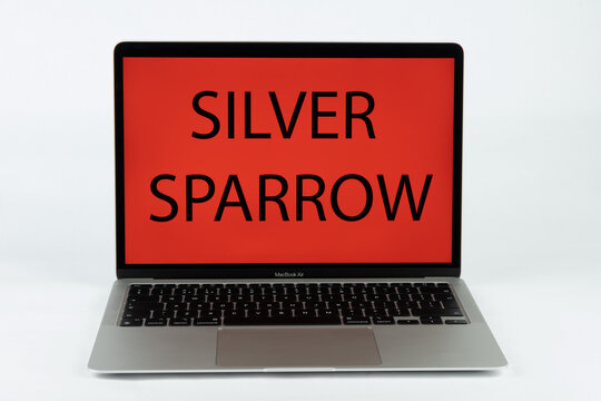 SILVER SPARROW virus name seen on the Apple MacBook Air M1 laptop. Stafford, United Kingdom, February 21, 2021.
