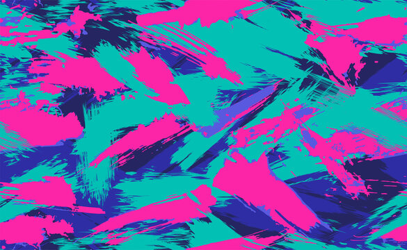 Neon Seamless camouflage pattern of brush strokes. Multicolor camouflage in cyberpunk style with neon flowers, perfect for clothes.  Seamless pattern of grunge strokes. Vector illustration