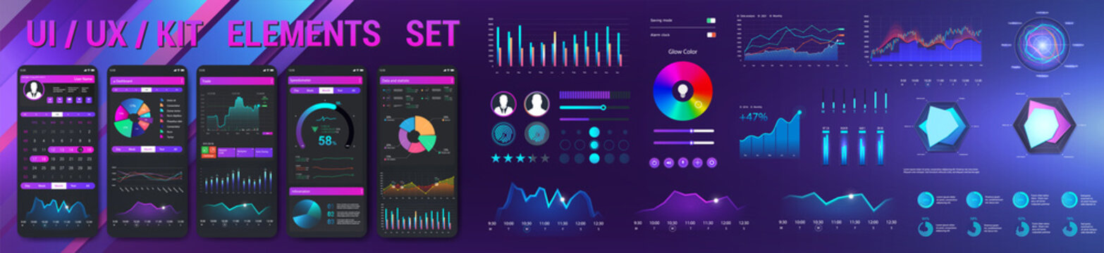 Graphic collection UI, UX, KIT elements for Web, App, GUI with statistics graphs, finance charts, diagrams, pie chart and infographic with Mobile Phone Application. UI graphic elements. Vector set