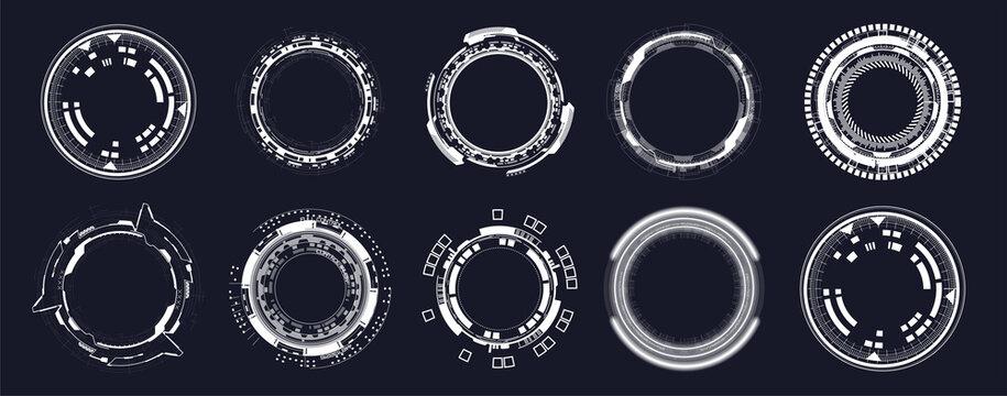 Futuristic circle elements. HUD focus elements. Sci-fi circular design. Camera viewfinder collection, Military collimator sight, Sniper weapon target hud aiming, gun targets. Vector circle HUD set