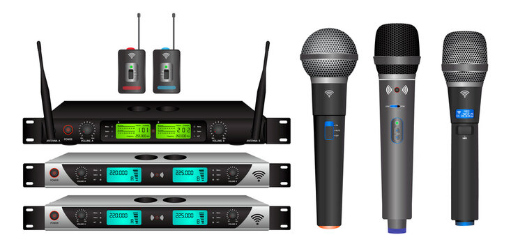 set of realistic wireless microphone or microphone transmitter receiver or module wireless microphone dual channel mic concept. eps 10 vector, easy to modify