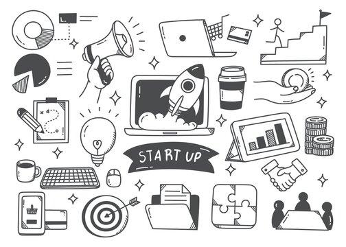 Start up concept doodle set vector illustration