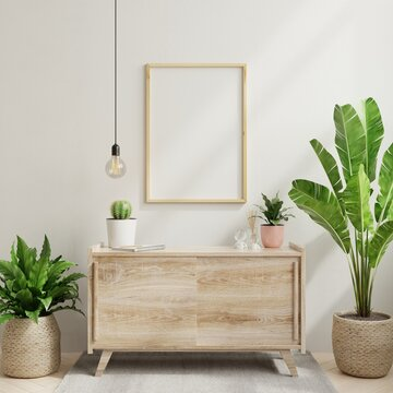 Mockup frame on cabinet in living room interior,Scandinavian style.