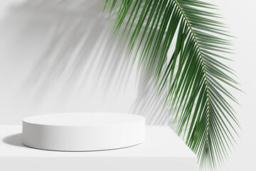 Fototapeta White product display podium with nature leaves. 3D rendering obraz