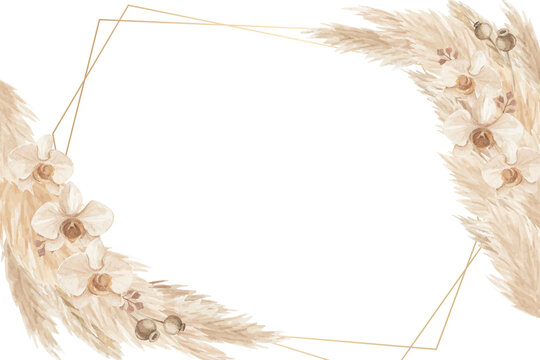 Rustic pampas grass and orchid frame background