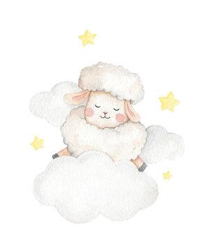 Cute little sheep animal watercolor illustration