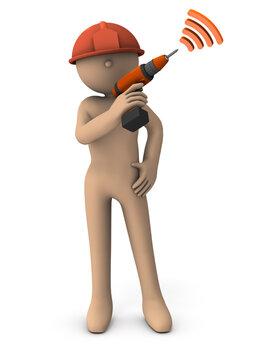 自信に溢れたエンジニアのイメージ。3Dレンダリング。