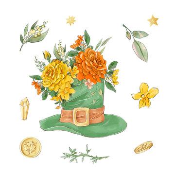 Saint Patrick's day elements set. Watercolor illustration