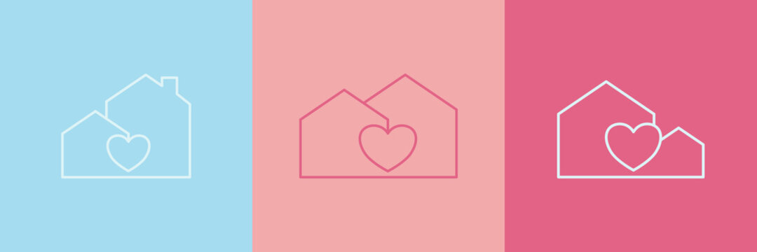 Set of minimal house icon with heart, Vector illustration.