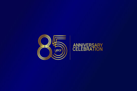 85 year anniversary celebration Gold Line. logotype isolated on Blue background for celebration, invitation card, and greeting card-Vector