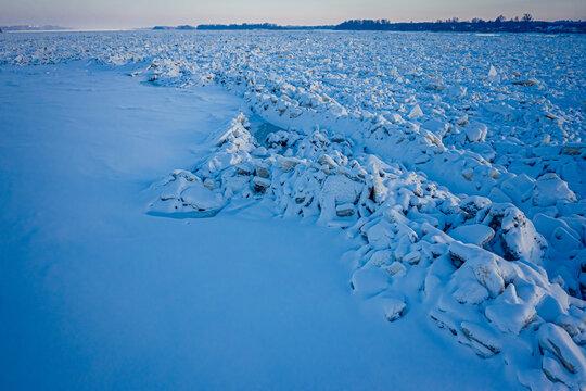 Ice jam on Vistula River in Poland, P?ock