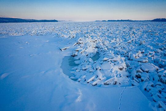 Ice jam on the Vistula River near Plock, Poland