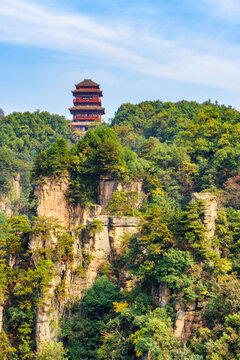 Traditional pagoda among scenic green woods in Avatar Mountains