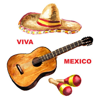 Viva Mexico card, guitar, maracas and hat Sombrero. Cinco de mayo concept. Hand drawn watercolor illustration isolated on white background