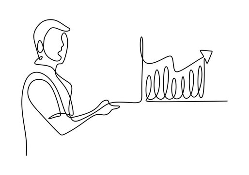 Continuous one single line drawing of young manager giving presentation about increasing product sales to his team with the graph at the office. Staircase growth chart concept. Vector illustration