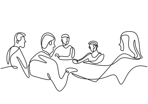 Continuous one line drawing of group of business people having discussion in conference room. Professional young business team is talking new project isolated on white background. Vector illustration