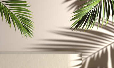 Mockup Concrete Stage For Present Product With Palm Leaf And Sunshade Light Shadow On Beige Abstract Background 3d Render Wall mural