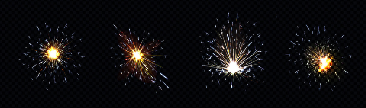 Fire sparks from metal welding, iron cutting or sparklers isolated on transparent background. Vector realistic flare effect, light flashes of industrial works with steel or fireworks