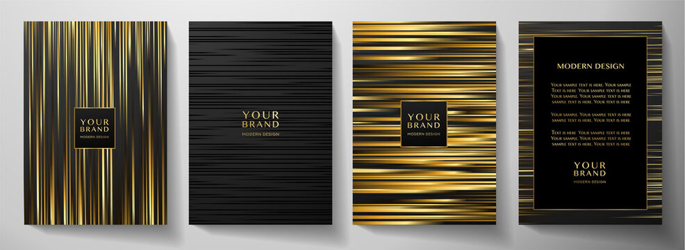 Modern black stripe cover design set. Luxury creative gold dynamic line pattern. Formal premium vector background for business brochure, poster, notebook, menu template