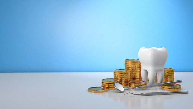 Gold coins money and a tooth with a dental mirror. Expensive dental treatment. Dental insurance. Blue background. Copy space for text. 3d render