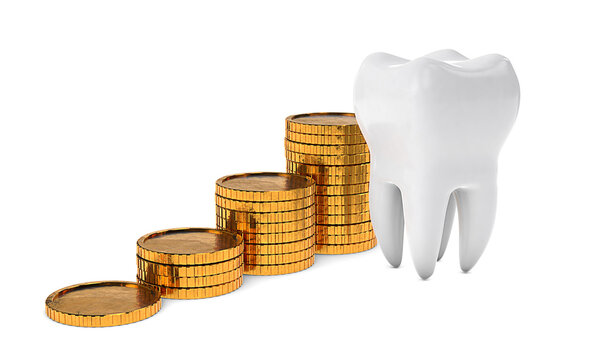 Gold coins money and tooth. Expensive dental treatment. Dental insurance. isolated on white background. 3d render
