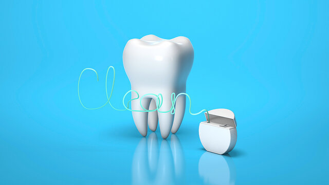 Dental floss in the form of the word CLEAN and tooth on a blue background. 3d render