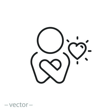 your self care icon, love my body and life, positive inspiration, yourself relationship, happy selfish person, thin line symbol on white background - editable stroke vector illustration