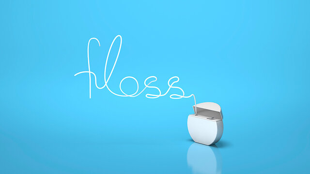 Dental floss in the form of the word FLOSS on a blue background. 3d render