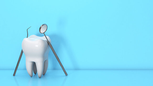 Tooth and dental instrument. Dental mirror and hook with teeth on a blue background. Copy space for text. 3d render