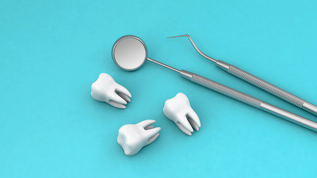 Teeth and dental instrument. Dental mirror and hook with teeth on a green background. 3d render