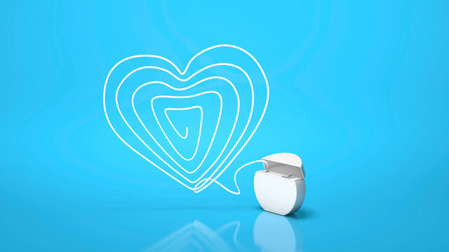 Dental floss. Flossing your teeth. Heart made of dental floss on a blue background. 3d render.