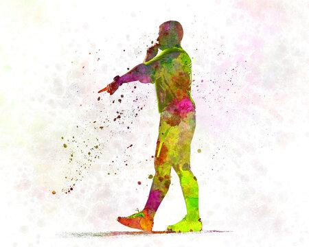 Soccer referee in watercolor
