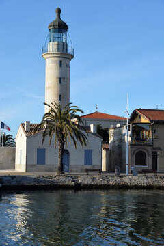 Phare du Grau-du-Roi. Canal. South of France.
