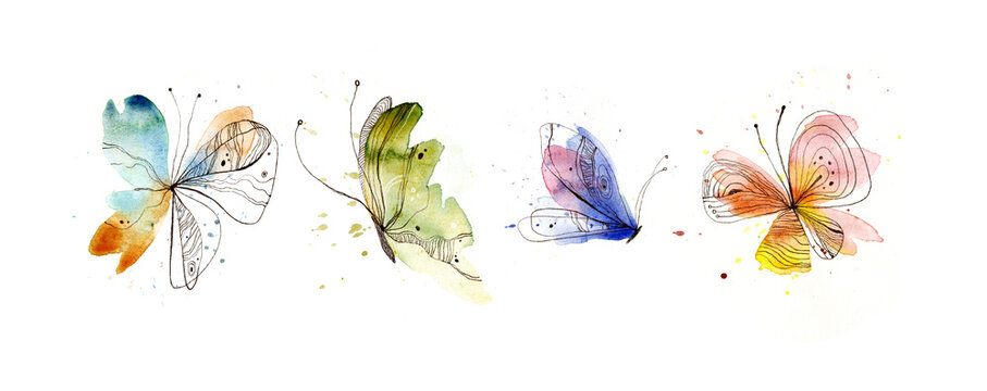 Hand-drawn butterflies. Watercolor and pen. Isolated on white background