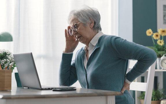 Senior woman having back pain