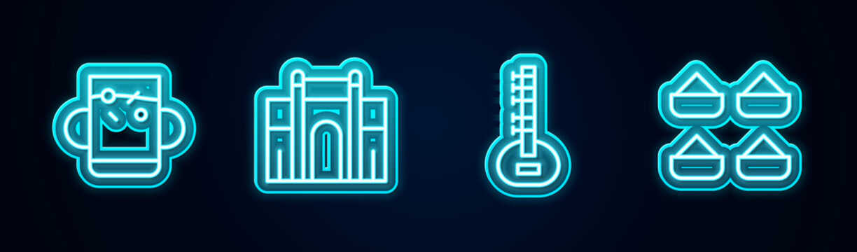 Set line Cup of tea and leaf, India Gate in Delhi, Sitar and Indian spice. Glowing neon icon. Vector.