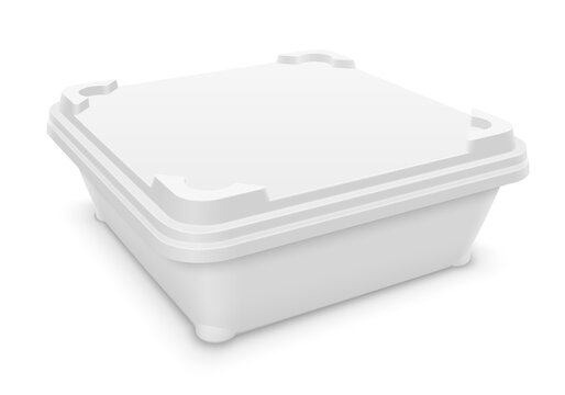 Square plastic container with motionless locking system. Packaging mockup 3d illustration isolated on white background.