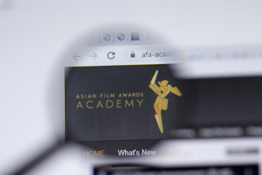 New York, USA - 17 February 2021: AFA Asian Film Awards logo close up on website page, Illustrative Editorial.