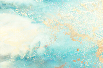 art photography of abstract fluid art painting with alcohol ink, blue, turquoise and gold colors