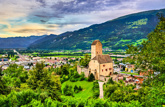 View of Sargans Castle in the Canton of St. Gallen, Switzerland