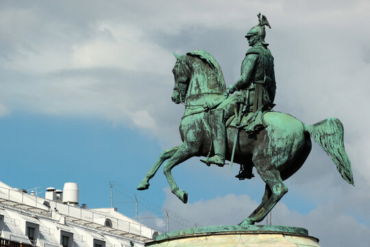 SAINT PETERSBURG, RUSSIA - JULY 4, 2017: Bronze monument of Tsar Nicholas I on Saint Isaac's Square, one of the few equestrian statues in the world with merely two support points.